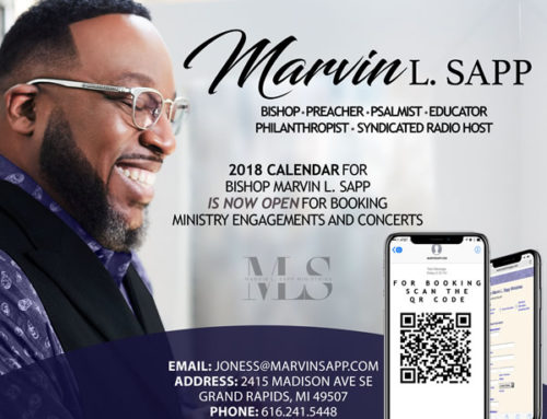 2018 Calendar for Bishop Marvin L. Sapp is NOW OPEN for booking ministry engagements & concerts