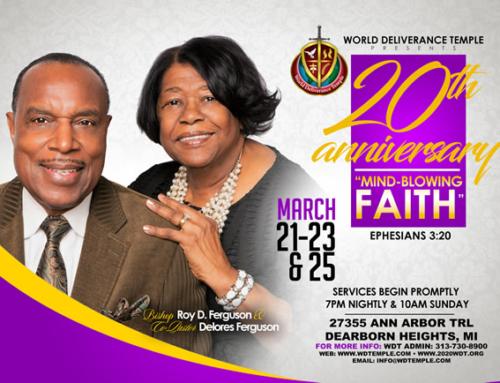 MAR 21-23 & 25: World Deliverance Temple's 20th Anniversary