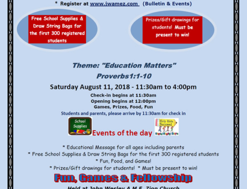 "AUG 11: FREE School Supplies for 300 students @ John Wesley A.M.E. Zion Church ""Back to School Rally"""