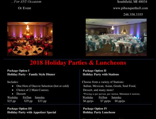 Holiday Specials at Pi Banquet Hall