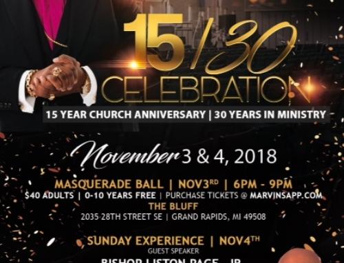 NOV 3 & 4: LFLC & Bishop Marvin Sapp's 15/30 Celebration feat. Masquerade Ball & Bishop Liston Page, Jr.