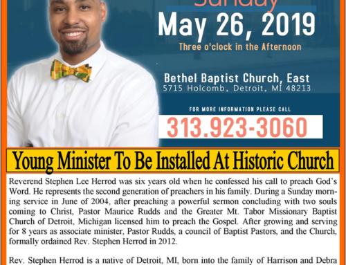 May 26: Rev. Stephen Herrod Pastoral Installation Service @ Bethel Baptist Church, East