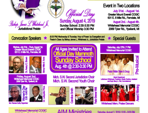 JUL 31 – AUG 4: Michigan Southwest 2nd Jurisdiction COGIC Holy Convocation 2019