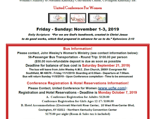 "Calling All Women & Girls (12 years & older)… ""United Conference For Women"" Bus Transportation"