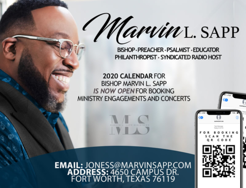 2020 Calendar for Bishop Marvin L. Sapp is NOW OPEN for booking ministry engagements & concerts