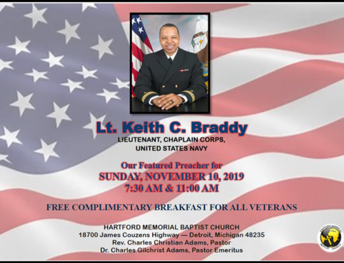 NOV 10: Hartford Memorial Baptist Church welcomes guest preacher Lt. Keith C. Braddy for Veterans Sunday 2019