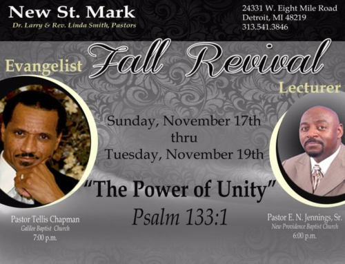 NOV 17-19: New St. Mark Revival – Tellis Chapman & E. N. Jennings – 3 Nights Packed with Power!
