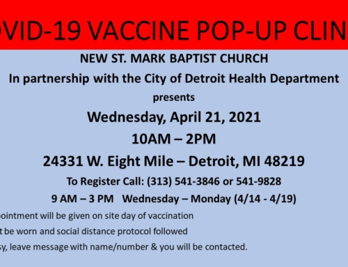 APR 21: COVID-19 Vaccine Pop-Up Clinic @ New St. Mark Baptist Church